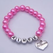 Princess Heart Personalised Bracelet - Beaded Style